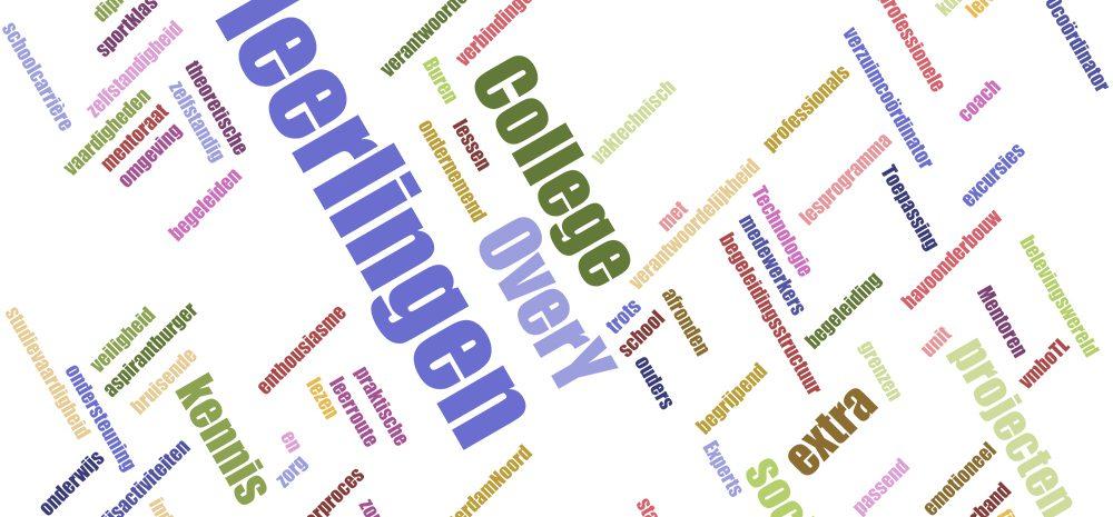 Een woordwolk van woorden uit het schoolplan van het Over-Y College