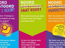 Flyer met 3 data voor de open dagen en lesmiddagen